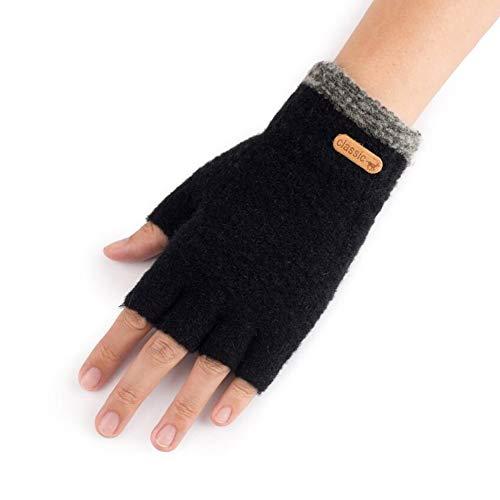 CJC Handschuhe Hälfte Finger Stricken Fingerlos Winter Super Weich Warm Fein Thermal (Farbe : SCHWARZ, größe : ONE SIZE)