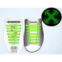jinzhicheng Set de 14no tie cordones de silicona luminoso Zapatilla de Running impermeable deportivo elástico plano cordones, verde