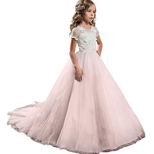 Classic Prinzessin Kostüm Rosa Women's - Livoral Mädchen Hochzeitskleid Partykleid Kinder Blumendruck Kleid Kind Mädchen Prinzessin Kostüm Party Tutu Spitzenkleid(Rosa,150)