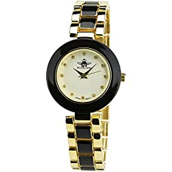 Women's Watch MICHAEL JOHN Silver Quartz Steel Case Analogue Display Steel Band Black Gold