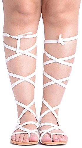 Odema Donne Roman Tagliare ginocchio Sandali Tacchi Strappy gladiatore Thong Flat Boots 3-bianco
