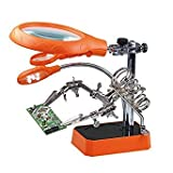 Questquo 5 Led Light Magnifier Magnifying Glass Helping Hand Soldering Stand with 3 Lens - Orange