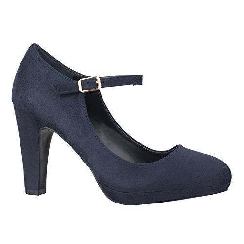 Elara Damen Pumps | Bequeme Riemchen High Heels | Vintage-Style | Abendschuh Trendy | Chunkyrayan | 118-8 Blue-36