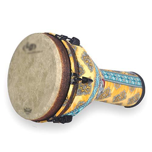 Djemben Handtrommeln Afrikanische Trommel Mahagoni Handtrommel 12 Zoll Percussion DJ Rock Schüler Afrikanische Trommeln, Geschenk Percussion (Color : Yellow, Size : 12 INCH)