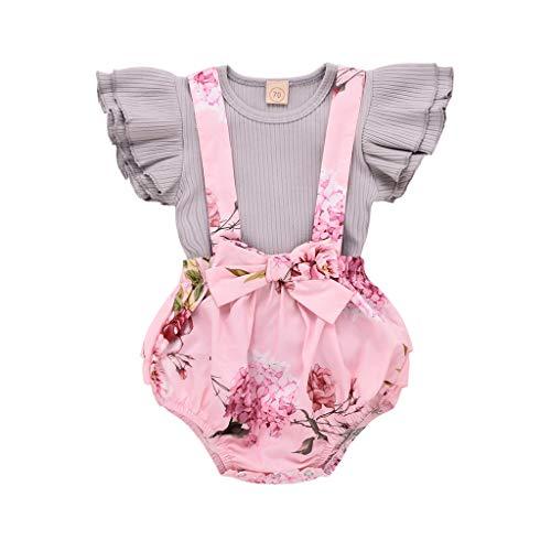 Mbby tuta neonato, 3-24 mesi completo ragazza 2 pezzi set tute maglietta + calzoncini tute cotone leggera antivento primavera estate