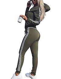 5988e541464 Tidecc Women Tracksuit Long Sleeve Zip Up Hooded Sweatshirt Hoodies + Pants  Joggings Suit Sport Yoga