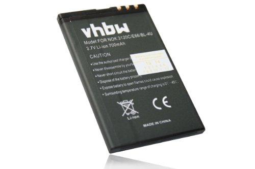 vhbw Li-Ion Akku 700mAh (3.7V) für Handy Smartphone Telefon Telekom Speedphone 700 Wie BL-4U, N4U85T, MP-S-V.
