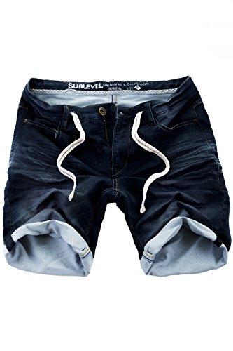 Sublevel Jogg Jeans Shorts Herren Kurze Hose Denim Sommer Jogger Bermuda Chino (Dunkelblau-88KD147, W34)