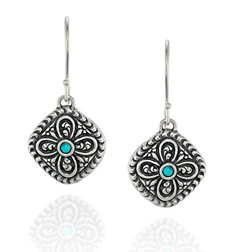 (Ohrring in antikem Stil aus 925er Sterlinsilber, Türkis, diamantförmig mit kunstvollem Blumenmotiv)