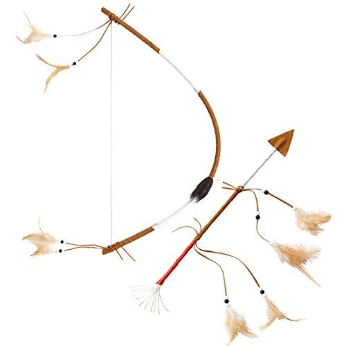 Amakando Indianer Pfeilbogen - 60 cm - Bogenschießen Apachen Indianerbogen Sioux Langbogen Indianerin Kostüm Zubehör Indianisches Pfeil und Bogen ()