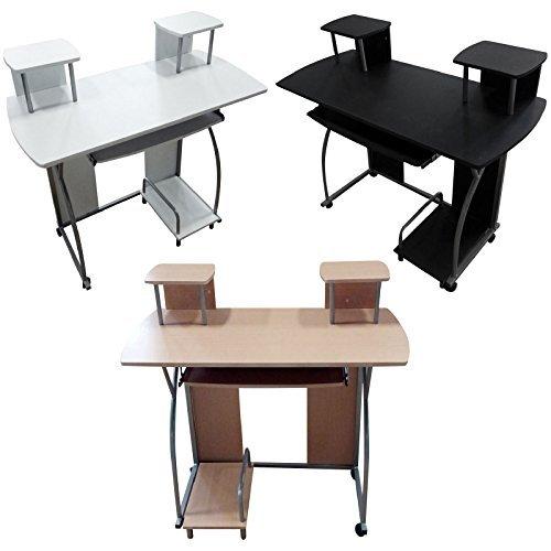 GR8 Home Holz tragbar Computer Schreibtisch Heimbüro Untersuchung PC Laptop Desktop mit Rollen Arbeitstisch Arbeitsplatz Möbel mit Regale Regal Laufrollen
