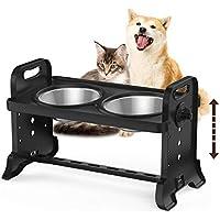 Lewondr Alimentador Dos Cuenco Acero Inoxidable Duradero Mascotas, Comedero Desmontables 4 Lados Altura Ajustable Base Antideslizante Lavable Lavavajilla para Gatos Perros Tazón Doméstico - Negro