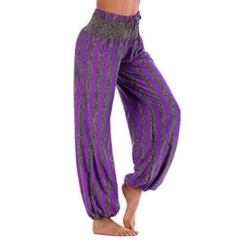 WOZOW Damen Hosen Vertical Striped Streifen Gestreift Lose Lang Aladdin Indian High Waist Elastisch Straight Leg Yoga Trousers Übergröße ()
