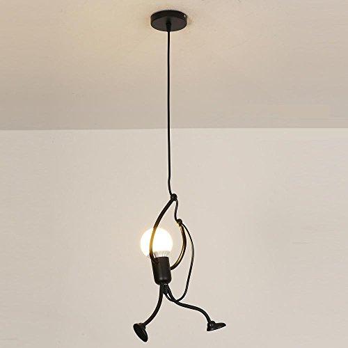 Moderne Industrielle Luminaire pendentif Contemporain Créatif Noir Métal Lampe pendentif DIY Art Conception Éclairage suspendu 1 lumière pour Chambre pour enfants Magasin Bar Cafe, Ø26cm, 1*E27*Max60W