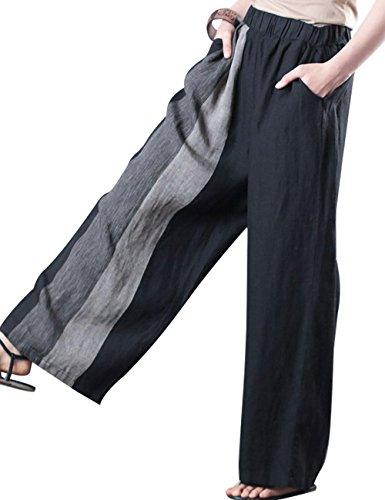 Youlee Donna Estate Vita Elastica Colore Bloccare Gamba Larga Pantaloni Nero