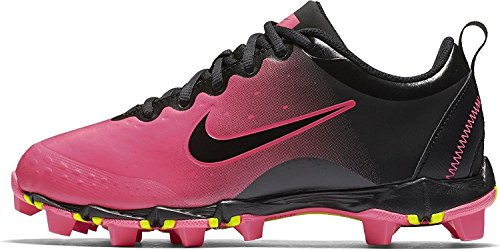 Nike Girl's Hyperdiamond 2 Keystone Softball Cleat Black/Pink Blast/Vivid Pink Size 5 M US