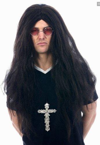 Ozzy Kostüm Osbourne - Henbrandt - Kostüm Zubehör Ozzy Osbourne Lange Schwarze Perücke