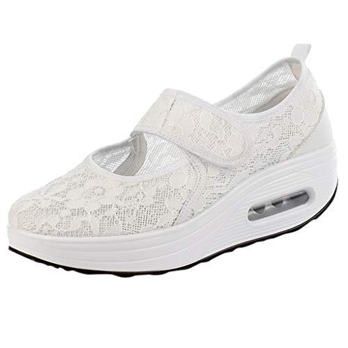 RYTEJFES Luftkissenschuhe Damen Atmungsaktive leichte Schuhe Sport Laufschuhe Spitze Klassiker Joggingschuhe Dämpfung Schnellverschluss Sneaker -