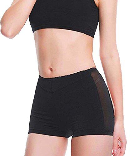 Damen Butt Lifter Shapewear Unterwäsche Panties Enhancer Boyshorts Taille Erweiterer Hose (Small, Schwarz) (Mikrofaser-boyshort Panty)