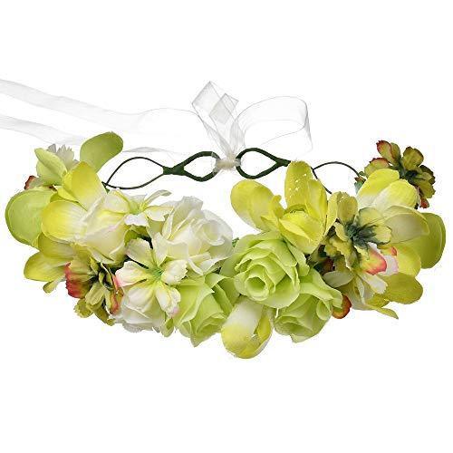 Damenmode Kopfbedeckungen Frauen-Mädchen handgemachte DIY Blumen-Kronen-Stirnband-Braut oder Bridemaid mit justierbarem Band-Blumenhaar-Kranz für die Partei-Ferien, die Fotografie-Dekoration Wedding F (Halloween Diy Kränze)