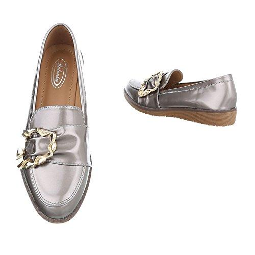 Ital-Design Scarpe da Donna Mocassini Piatto Slipper beige argento W-3-1