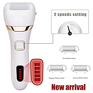 Electric Callus Remover, Rechargeable Foot File Hard Skin Remover Pedicure Tools for Feet Electronic Callus Shaver Waterproof Pedicure kit for Cracked Heels and Dead Skin with 3 Roller Heads