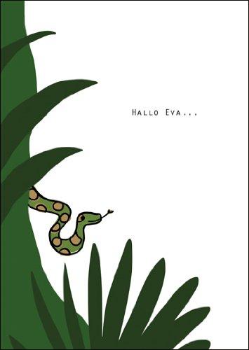 Im 5er Set: Paradiesische Grußkarte mit Schlange: Hallo Eva -