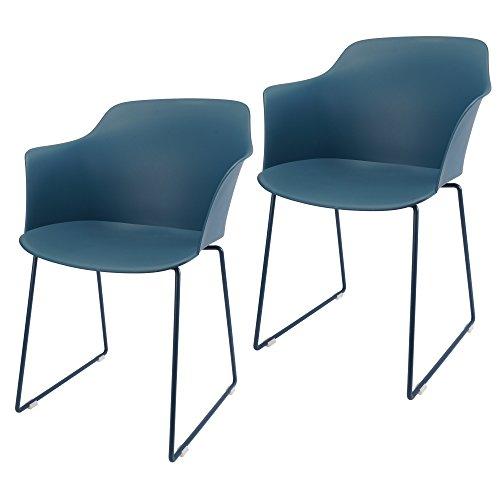 MIKU Armlehnenstuhl 2er-Set Schalenstuhl Stockholm blau Stuhl Sitzschale Esszimmerstuhl Lehnenstuhl (2er Set blau)