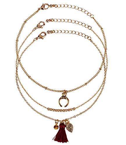 SIX 3er Set Damen Armschmuck, Armkettchen, Armbänder, Gliederkette, Tassel, Quaste, Halbmond, Gold (748-689)