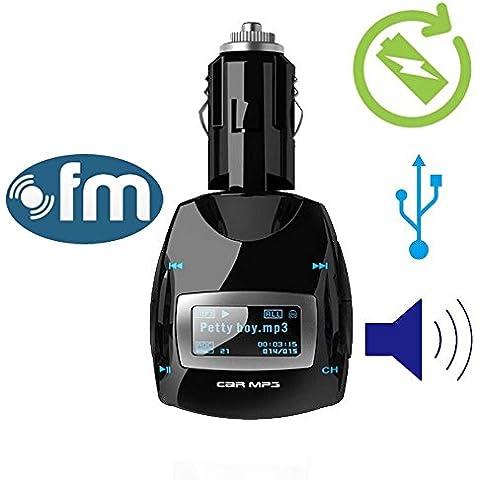 Lettore MP3 portatile senza fili Car Kit con telecomando Trasmettitore FM con auto accendisigari per (Frequenza Completa Trasmettitore Fm)