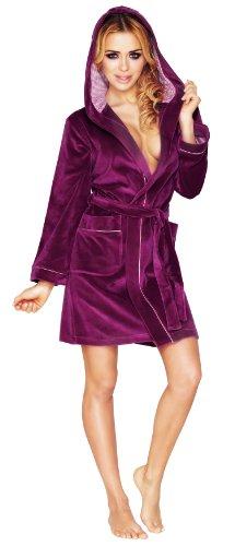 Wanmar Femme Velour Robe de Chambre Camelia Violet