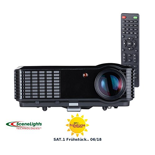 SceneLights Beamer mit Mediaplayer: LED-LCD-Beamer LB-9300 V2 mit Media-Player, 1280 x 800 (HD), 2.800 lm (Heimkino-Projektor)