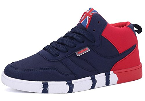 Men's High Top Breathable Outdoor Athletic Skateboarding Shoes Navy red