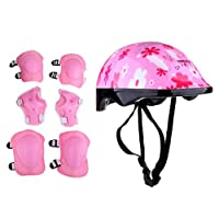 JFCUICAN Protective Gear 7pcs Junior Roller Skating Skateboard Helmet Knee Wrist Guard Elbow Pad Safety Helmets Protective Set for Children Kids Cycling