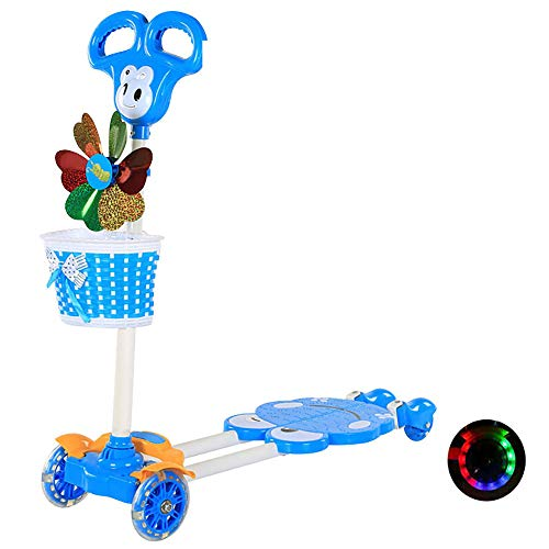CHHMAELOVE Mini Roller Dreirad für Kinder,Einstellbare Tretroller,mit PU blinkenden Rädern Dreiradscooter , bis 50kg belastbar,BlueC