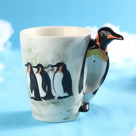 ZIMEI Fatto a mano 3D pinguino in ceramica tazze, tazzine, ad alta temperatura, forno a microonde 420ml , 2 set - Starbucks Tazze E Tazzine