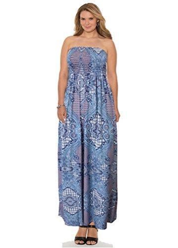 66 Fashion District Damen Bandeau Kleid 34-52 Blue Paisley