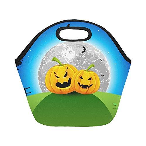 unchpaket-Kürbis-Grünland-Vollmond-Halloween-große wiederverwendbare thermische starke Mittagessen-Einkaufstaschen Für Brotdosen für draußen, Arbeit, Büro, Schule ()