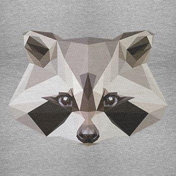 TEXLAB - Poly Racoon - Herren Langarm T-Shirt Grau Meliert