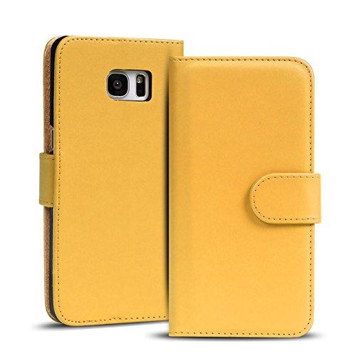 Verco Galaxy S6 Edge Hülle, Handyhülle für Samsung Galaxy S6 Edge Tasche PU Leder Flip Case Brieftasche - Gelb