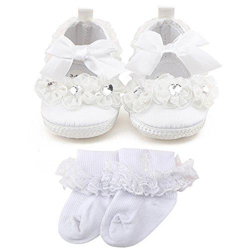 Delebao Babyschuhe Weiß Taufschuhe Baby Mädchen Hausschuhe Spitze Schuhe für Kleinkinder 0-3 Monate (Weiße Schuhe Baby)