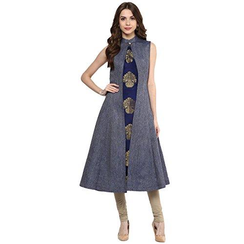 Aahwan Women's Blue Denim A-line Long Kurtis (X-Small)