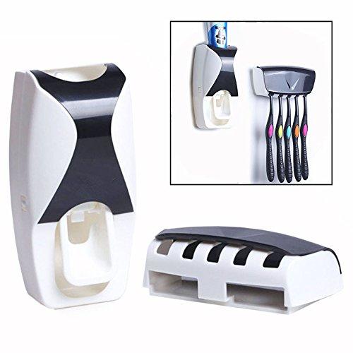 Gearmax® Automatische Staubdicht Zahnpastaspender Zahnpasta Presse Kit mit Zahnbürstenhalter (Schwarz)
