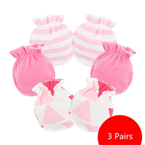 Affe 3 Paare Baby Mädchen Junge Handschuhe Neugeborene No Scratch Fäustlinge Säugling Kratzhandschuhe (Blassrosa)