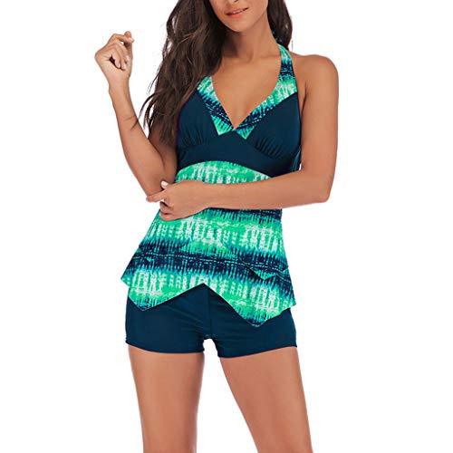 KEERADS Damen 2 Piece Tankini Set Strap Print Badeanzug Tank Top Bikini Swimsuits mit Short