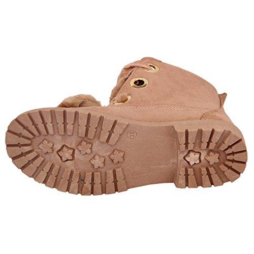 Donna Camoscio Look Stivali donna morbidi pelo tacco basso con lacci scarpe caviglia INVERNO Rosa - am6861