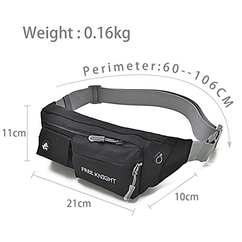 HongXing Taille Tasche Pack Slim wasserabweisend Reise Bauchtasche Running Gürtel für Reisen Radfahren Wandern Camping Schwarz