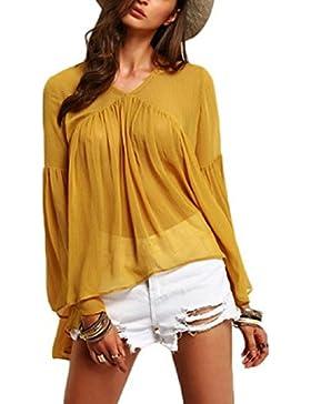La Mujer Es Elegante Acanalada Con Cuello En V Profundo Verano T Shirt Blusas Tops