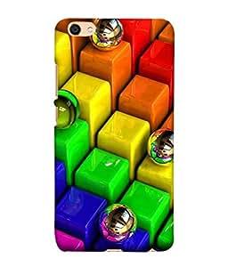 PrintVisa Colourful Square Ball 3D Hard Polycarbonate Designer Back Case Cover for Vivo Y55L :: Vivo Y55