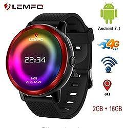 LEMFO LEM8 - Reloj Inteligente Android 7.1.1 4G 2 MP cámara de Reloj teléfono, MT6739.2GB + 16GB,580Mah batería Bluetooth/GPS/Monitor de Ritmo cardíaco para Hombres y Mujeres (Rojo)